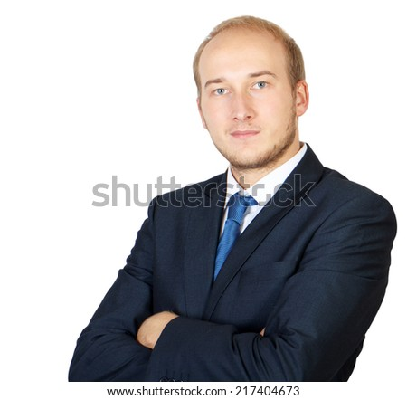 Close up portrait of a smiling business man with arms crossed isolated on white
