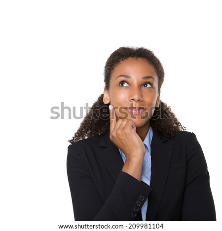 Close up portrait of a smiling business woman thinking on isolated white background - stock photo