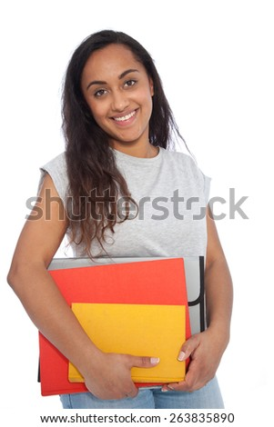 Close up Portrait of a Smiling Indian Girl in Casual Outfit Carrying Books and Documents While Looking at the Camera. Isolated on White Background.