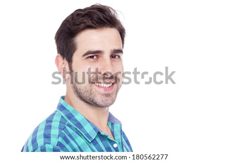 Close-up portrait of a smiling man, isolated on a white background