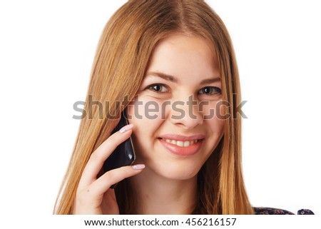 Close up portrait of a smiling woman with mobile.