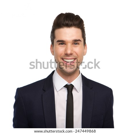 Close up portrait of a smiling young business man on isolated white background