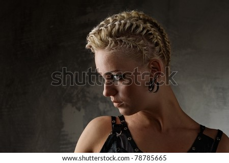 Close-up portrait of a steam punk girl - stock photo