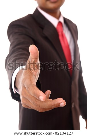 Close-up portrait of a successful business man, gesturing a hand shake