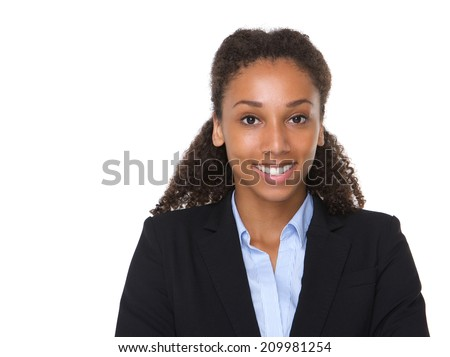 Close up portrait of a young african american business woman smiling on isolated white background - stock photo