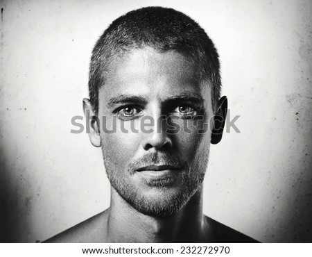 Close-up portrait of a young attractive man  - stock photo