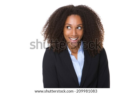 Close up portrait of a young business woman laughing