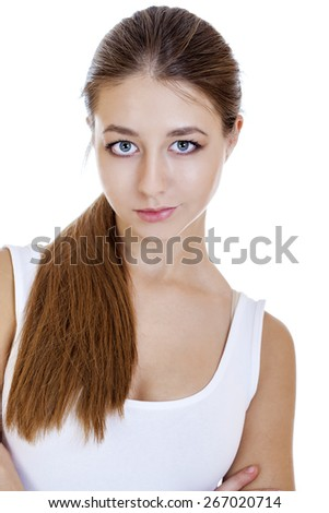 Close up portrait of a young girl teenager, isolated on white background - stock photo