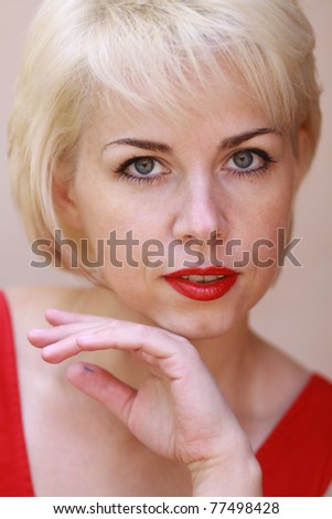 Close up portrait of a young pretty woman - stock photo