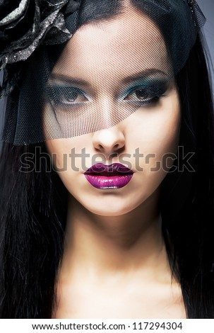 Close-up Portrait of a young Sad retro Woman with Black Mourning Veil - stock photo