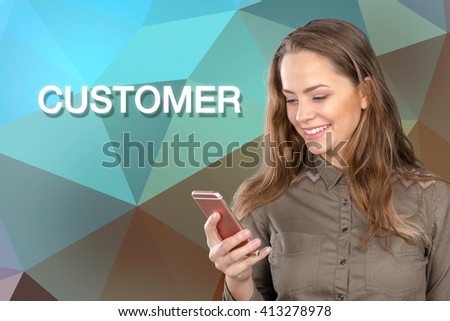 Close up portrait of a young woman-customer  holding a smartphone - stock photo