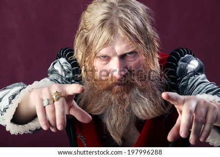 close-up portrait of an adult male with long blonde hair with a beard and mustache crazy kind - stock photo
