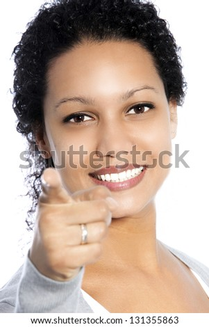 Close up portrait of an African American female pointing at you
