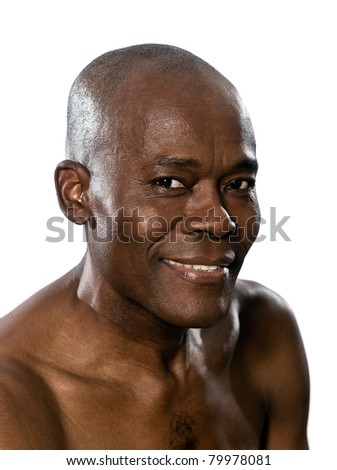 Close-up portrait of an afro American handsome man smiling in studio on white isolated background - stock photo