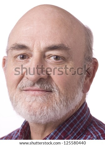 Close up portrait of an attractive old man against white background