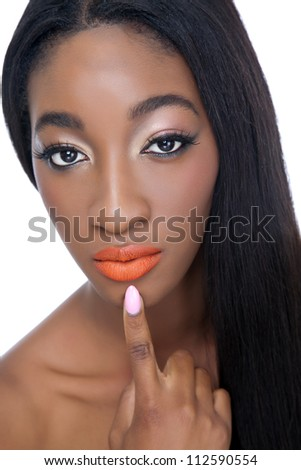 Close up portrait of an young African beauty - stock photo