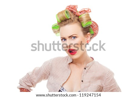 Close-up portrait of angry pin up funny girl isolated on white background in studio. Old / retro fashion style photo - stock photo