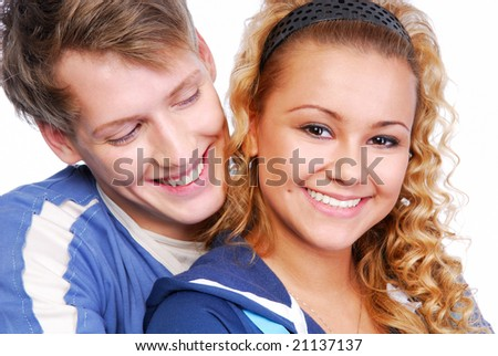 Close-up portrait of attractive couple flirting