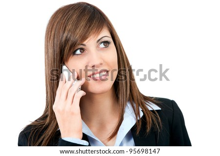 Close up portrait of Attractive young business woman talking on cell phone. Isolated on white.