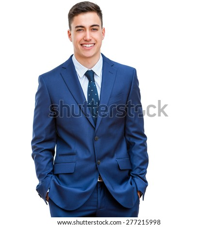 Close up portrait of attractive young businessman in blue suit. Half body portrait Isolated on white background. - stock photo