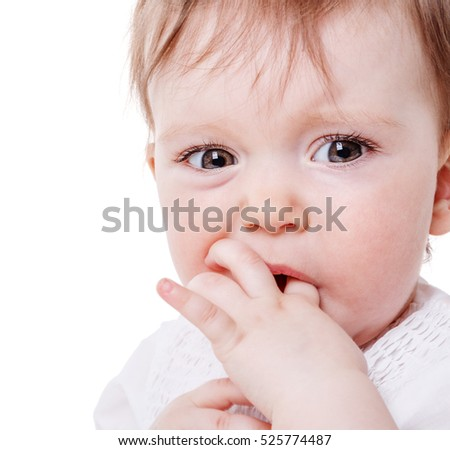 Close up Portrait of baby girl sucking finger isolated on white background