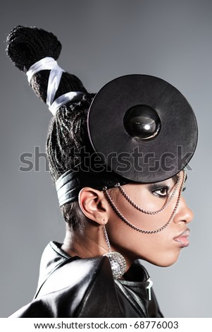 close  up portrait of beautiful african woman - stock photo