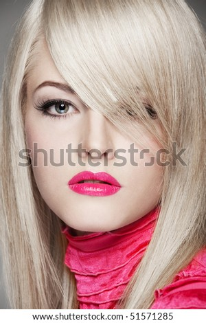 close-up portrait of beautiful blonde with red lips - stock photo