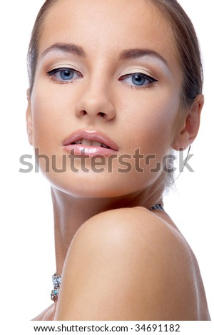 close-up portrait of beautiful blue eyed caucasian model on white - stock photo