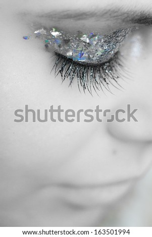 Close-up portrait of beautiful caucasian young woman (black and white) - stock photo