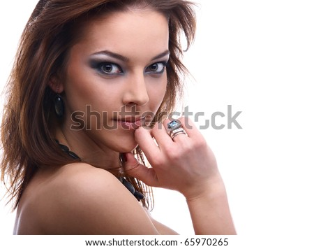 close-up portrait of beautiful dark haired model