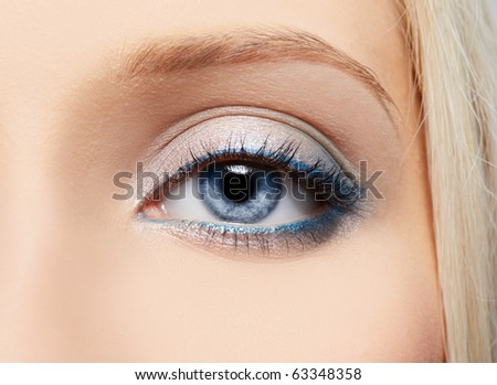 close-up portrait of beautiful girl's eye-zone make-up