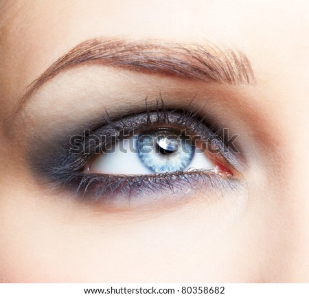 close-up portrait of beautiful girl's eye zone make up - stock photo