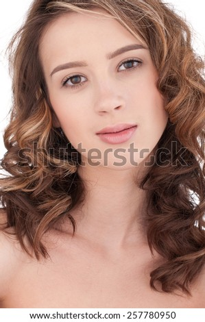 Close-up portrait of beautiful girl with clear skin and makeup - stock photo