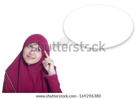 Close-up portrait of Beautiful Muslim Girl thinking. Over white background and speech bubble - stock photo