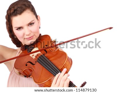 Close up portrait of beautiful violinist isolated on white - stock photo