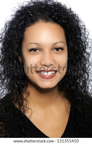 Close up portrait of Beautiful Woman African black metisse - stock photo
