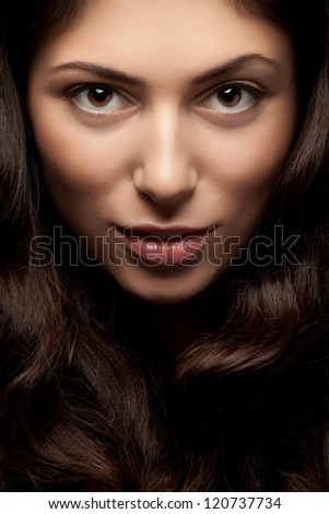 Close up portrait of beautiful woman face - stock photo