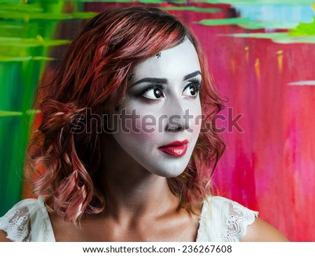 Close-up portrait of beautiful woman with professional make-up Fashion Model Girl - stock photo