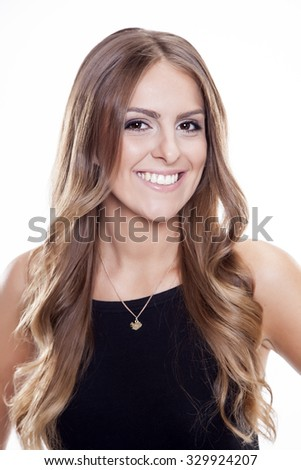 Close up portrait of beautiful young adult attractive sexy and sensuality happy smiling pretty brunette woman isolated on white background