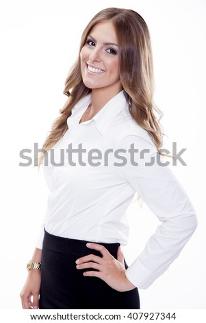 Close up portrait of beautiful young adult attractive sexy and sensuality happy smiling pretty brunette woman elegance business style dress, Isolated on white background - stock photo