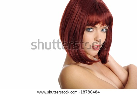 Close-up portrait of beauttiful woman with red hair