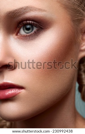 Close-up portrait of beauty commercial blonde model