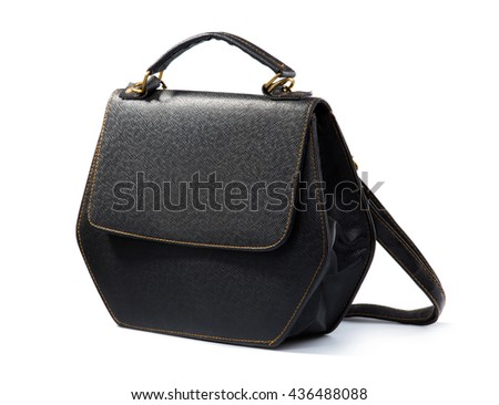 close up portrait of black woman bag isolated on white background