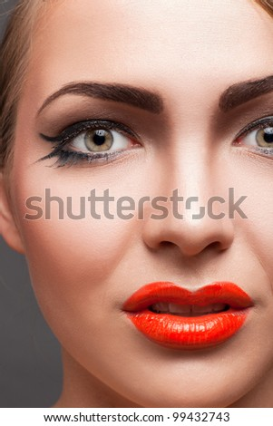 close-up portrait of blond woman with make-up