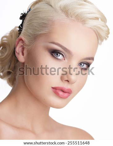 Close Up Portrait of Charming Blond Woman with Natural Clean Skin - stock photo