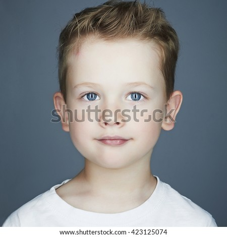 close-up portrait of child. funny little boy. 5 years old - stock photo