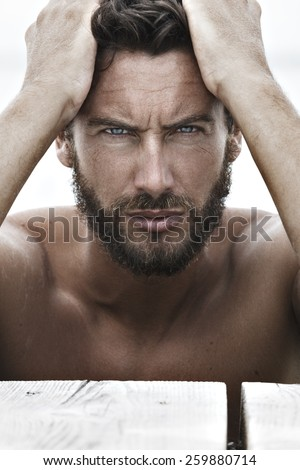 Close up Portrait of Confident Fashion Handsome Man with No Shirt - stock photo