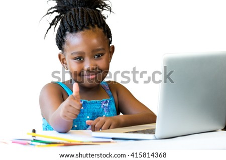 Close up portrait of cute african girl doing thumbs up at desk isolated.Isolated on white background. - stock photo