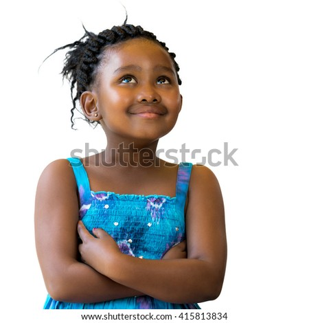 Close up portrait of cute african girl with braided hairstyle looking up.Isolated on white background. - stock photo