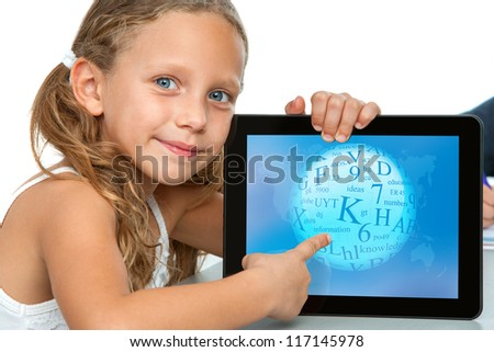 Close up portrait of cute girl touching digital tablet screen.Isolated on white. - stock photo